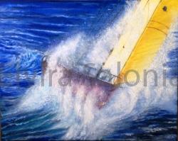 La vela gialla – olio – cm 50x40 - Elvira Salonia