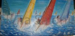Regata velica – olio – cm 200x100x3 (collezione privata) - Elvira Salonia