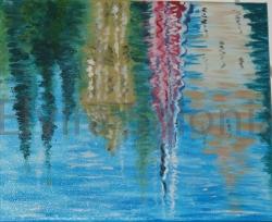 Riflessi lungo il fiume - olio - cm 25x30 - Elvira Salonia