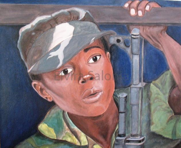Il ragazzo soldato – olio – cm 60x50 (collezione privata) - Elvira Salonia
