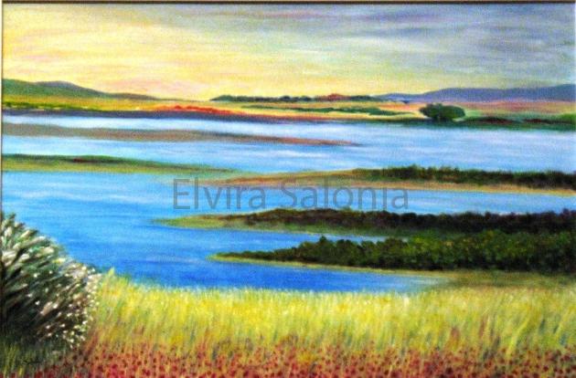 Paesaggio estivo con papaveri – acrilico – cm 40x60 (collezione privata) - Elvira Salonia