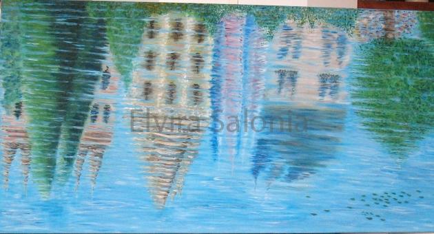Riflessi sul fiume – acrilico – cm 160x80 (collezione privata) - Elvira Salonia